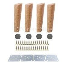 خشب البلوط الطبيعي 20 سنتيمتر ارتفاع الأثاث موثوق الساق مع لوحة الحديد أريكة طاولة دولاب قدم مجموعة من 4