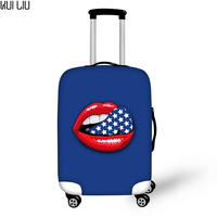 Customized Image Brand Sexy Lips 3D Polyester Luggage Cover Stretch Fabric Dust Proof Luggage Suitcase Protector Cover