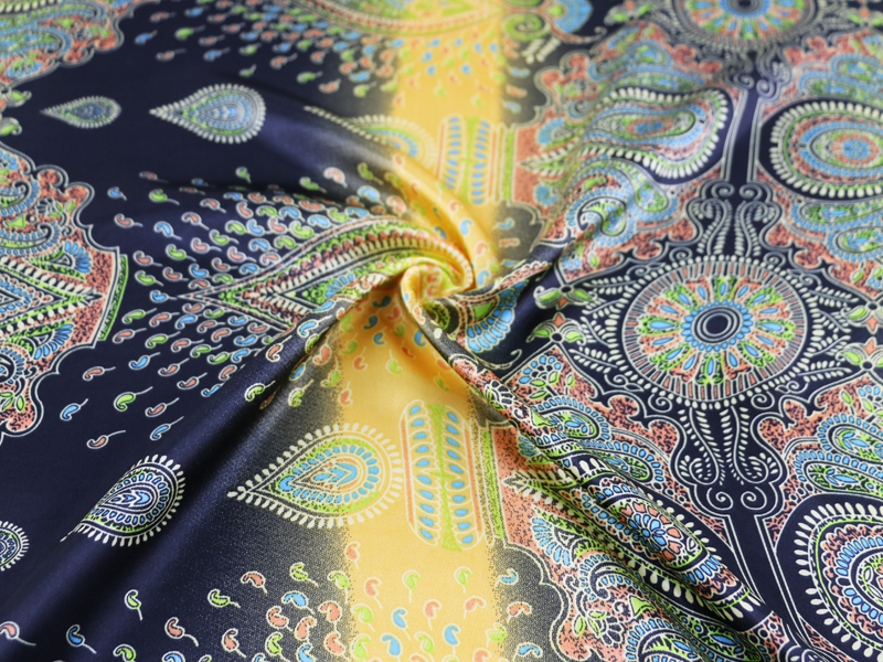 Soft Dress Material Charmeuse Ethnic Paisley Patchwork Satin Fabric Printed in Fabric from Home Garden