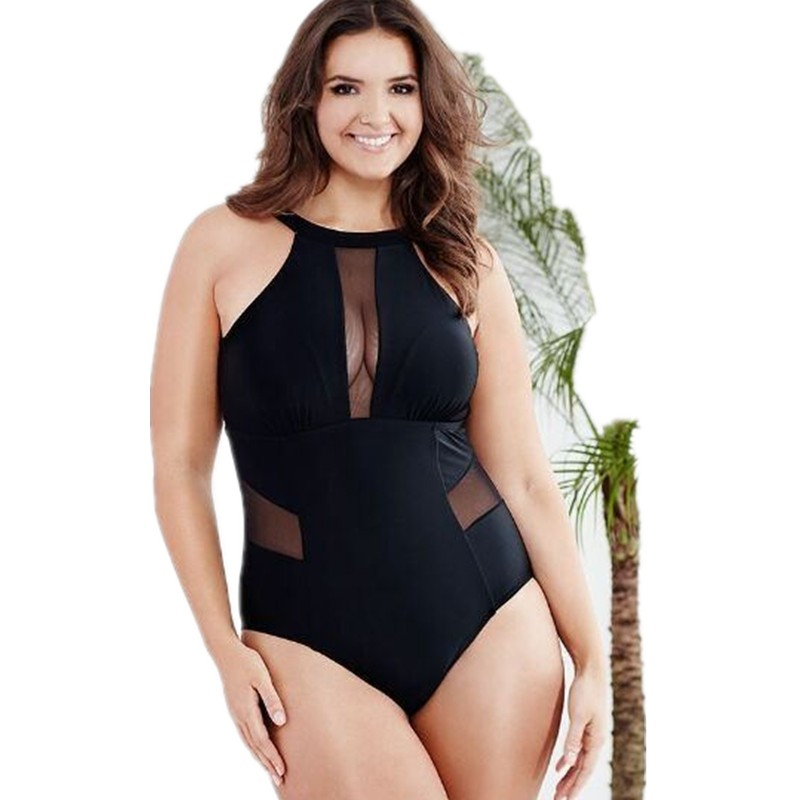Plus Size One Piece Swimsuit Women Swimwear Solid Black Mesh Monokini Maillot De Bain Femme Bodysuit Female Bathing Suit 2018 one piece swimsuit women white black bodysuit swimwear hollow out monokini bathing suit sexy maillot de bain biquini e450