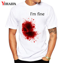 Newest Men T Shirt Im fine Letter Graphic Tee Funny 3D Print T-Shirts Halloween Creative Male Casual Unisex White Tops