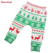 Baby Boys Girls Christmas Reindeer Pants Kids Harem Girl Boy Cotton Autumn Xmas Leggings 2017 New Fashion 40C