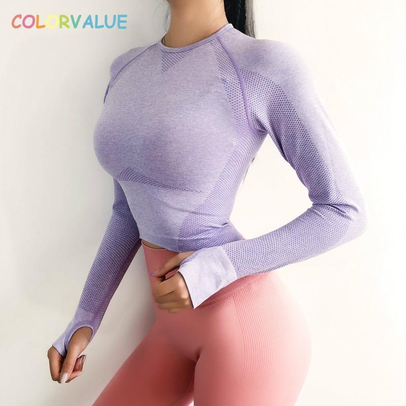 Colorvalue Neue Nahtlose Fitness Crop Tops Frauen Quick Dry Slim Fit Workout Gym Shirts Lange Ärmeln Jogger Tops mit Daumen löcher