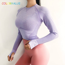 Colorvalue New Seamless Fitness Crop Tops Women Quick Dry Slim Fit Workout Gym Shirts Long Sleeved Jogger with Thumb Holes