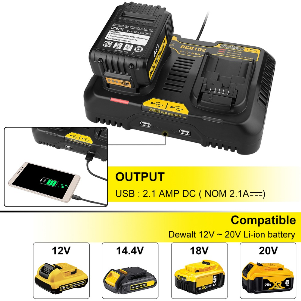 Replacement Charger For Dewalt Dcb105 Dcb101 Dcb102 Dcb200