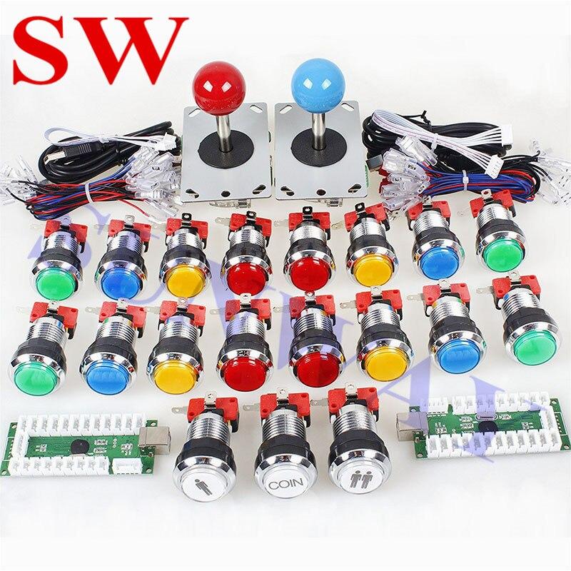 DIY Kit Zero Delay Arcade USB Encoder To PC Arcade Sanwa Joystick Chrome LED Illuminated Push