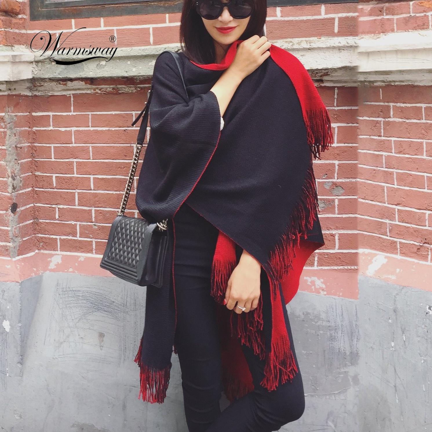 US $14 98 30% OFF|Quality guarantee Oversized Reversible reversed Women  Winter Knitted Cashmere Poncho Capes Shawl Cardigans Sweater Coat C 008-in