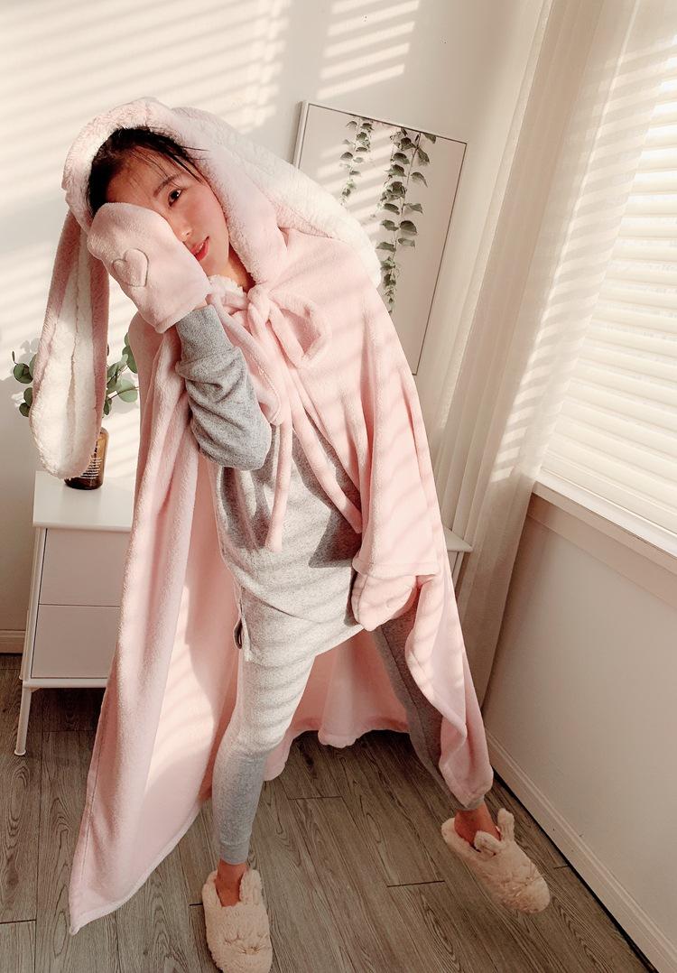 Cute Pink Comfy Blanket Sweatshirt Winter Warm Adults and Children Rabbit Ear Hooded Fleece Blanket Sleepwear Huge Bed Blankets 132