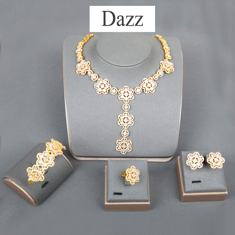 Dazz Gold Color Dubai Wedding Jewelry Set Flower Zircon Dangle Necklace Earrings Ring Bangle Sets Banquet Accessories Gift 2019Dazz Gold Color Dubai Wedding Jewelry Set Flower Zircon Dangle Necklace Earrings Ring Bangle Sets Banquet Accessories Gift 2019