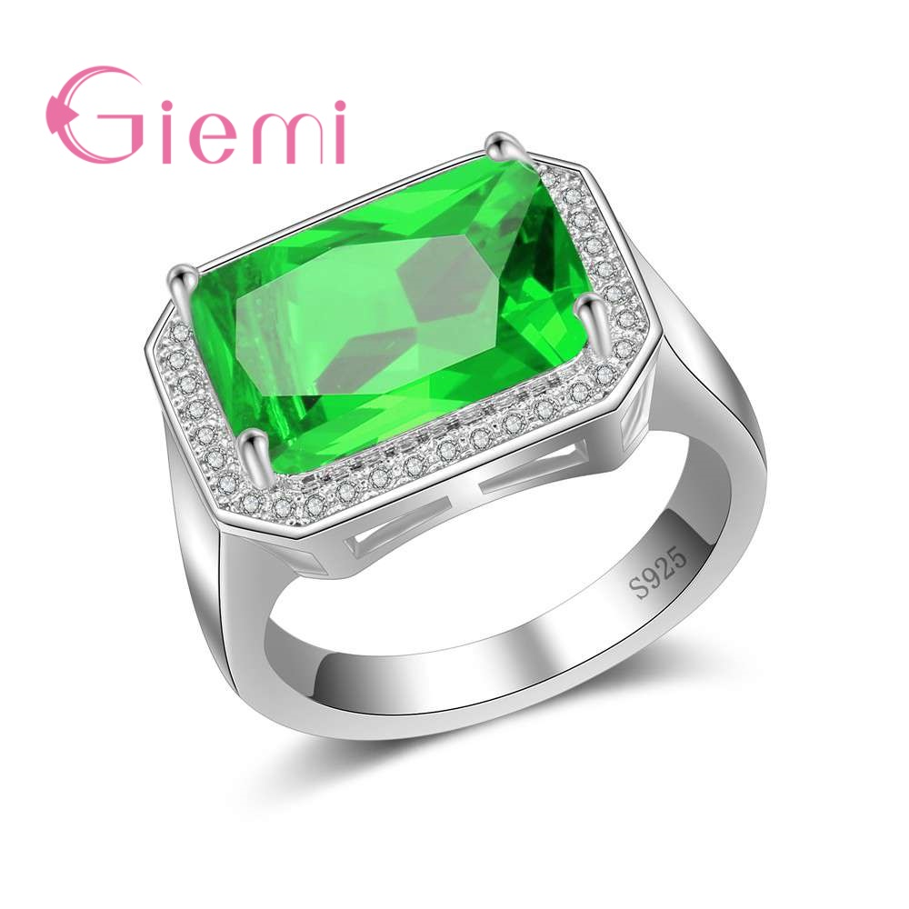 GIEMI Exaggerate Type Women Noble Finger Rings Large Rectangle Zircon Anillos Female 925 Sterling Silver Wedding Accessories