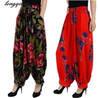 Large Size Cotton National Wind Flower Pants Long Pants Loose Straight Jeans Pantyhose Mother Dress Bloomers