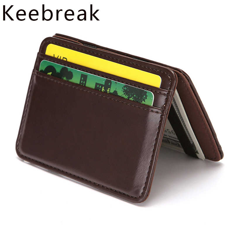 Keebreak Magic Men Wallet Slim pu Leather Wallet Male Thin Wallet Small Purse Money Bag Mini Card Wallet carteira portefeuille