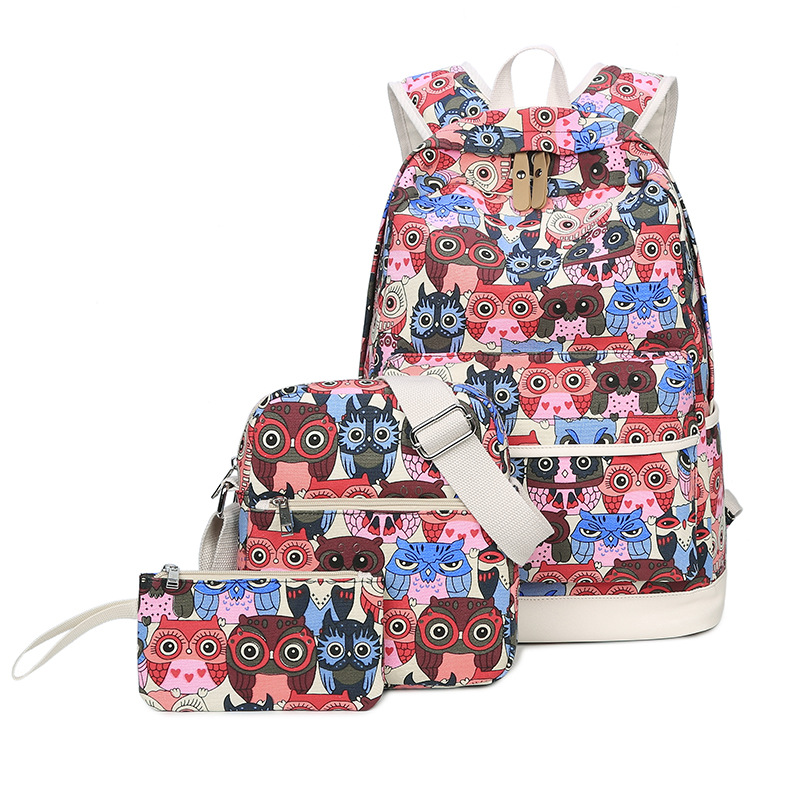Canvas School Backpack Set 3 Pieces Lightweight Teen Girls Bookbags With Shoulder Bag Pencil Case Owl Printing School Bags