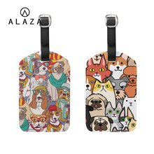 ALAZA Mr. Dogs Printing Luggage Tag PU Leather For Women Men Travel Accessories ID Address Holder Tag Boarding Portable Label(China)