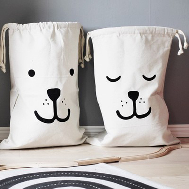 INS Canvas Drawstring Bag Large Baby Toys Storage Laundry Cotton Pouch Bags Sack Organization Bear Batman Hanging Household