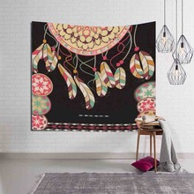 Dreamcatcher Tapestry Romantic Sapphire Wall Hanging Dreamlike Feathers Wall Cloth Carpet Decorative Tapestries Yoga Mat Blanket
