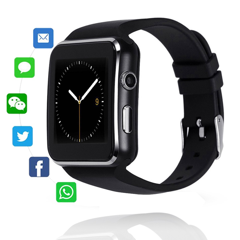 X6 bluetooth relógio inteligente esporte passometer smartwatch com câmera apoio sim tf cartão whatsapp facebook para o telefone móvel