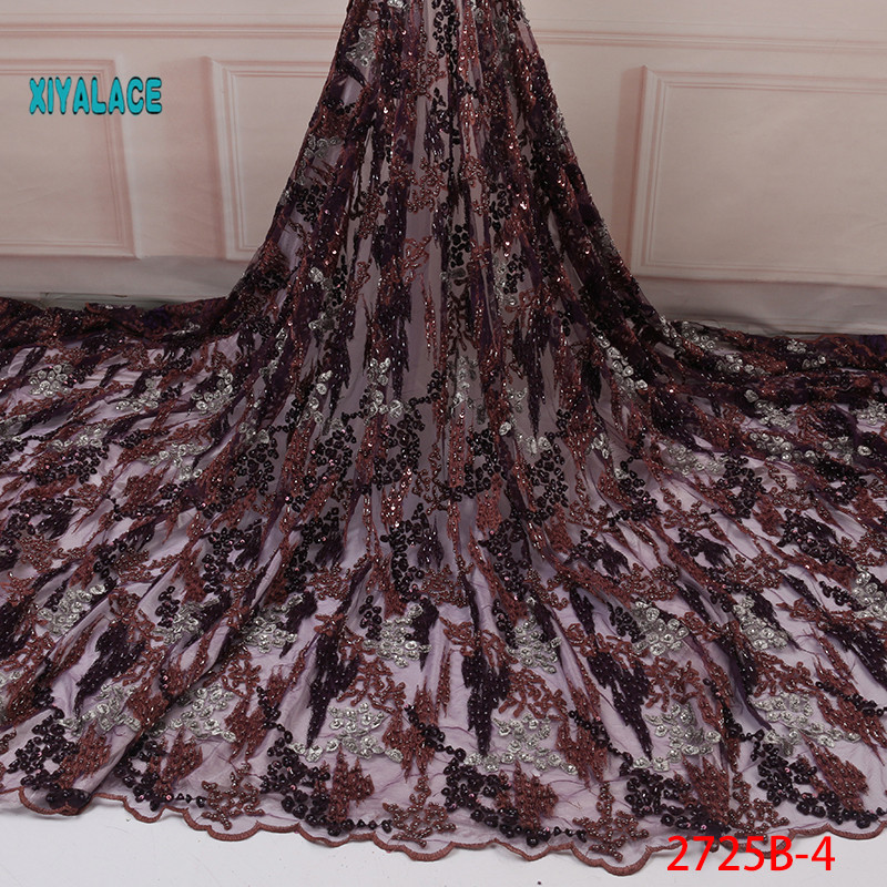 French Laces Fabrics 2019 Latest High Quality Tulle Lace Wifh Beads Fabric For Wedding Nigerian Tulle Lace Material YA2725B-4