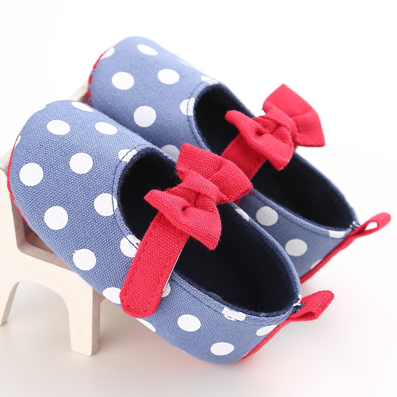 2019 Newborn Polka Dot Baby Shoes Fashion Newborn Girl Baby Retro Printed First Walker Toddlers Kids Soft Bottom Cotton Shoes in First Walkers from Mother Kids