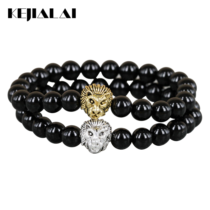KEJIALAI 2018 New Design Mens Bracelets Retail 8mm Onyx Beads Antique Silver Color and Gold Color Lion Head Bracelets M-L380