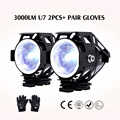 2PCS 125W Motorcycle Headlight Motorbike 12V 3000LM moto spotlight U7 LED Waterproof Driving car Fog Spot Head Light Lamp