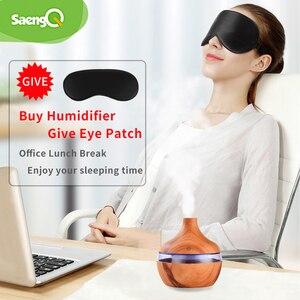 Image 5 - SaengQ مرطب كهربائي يعطي رائحة عطر فواحة مع مصباح LED, جهاز خشبي يعطي عطور بالموجات فوق الصوتية مع توصيل يو إس بي