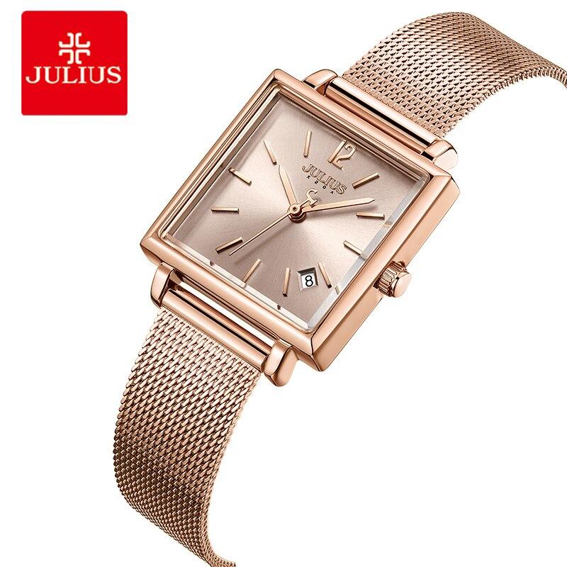 Julius Femmes maille d'acier inoxydable montres-bracelets Affichage de la Date Dames montres à quartz De Luxe Carré Or Rose Montre-Bracelet Femelle