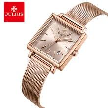 יוליוס נשים נירוסטה Mesh צמיד שעונים תצוגת תאריך גבירותיי קוורץ שעון יוקרה כיכר רוז זהב נקבה שעוני יד