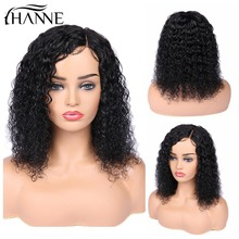 Wig Human-Hair-Wigs Side-Part Curly Lace-Front Short Black Women Brazilian 150%Density