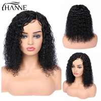 HANNE Hair Short Curly Lace Front Human Hair Wigs Brazilian Side Part Wig With Baby Hair for Black Women 150% Density