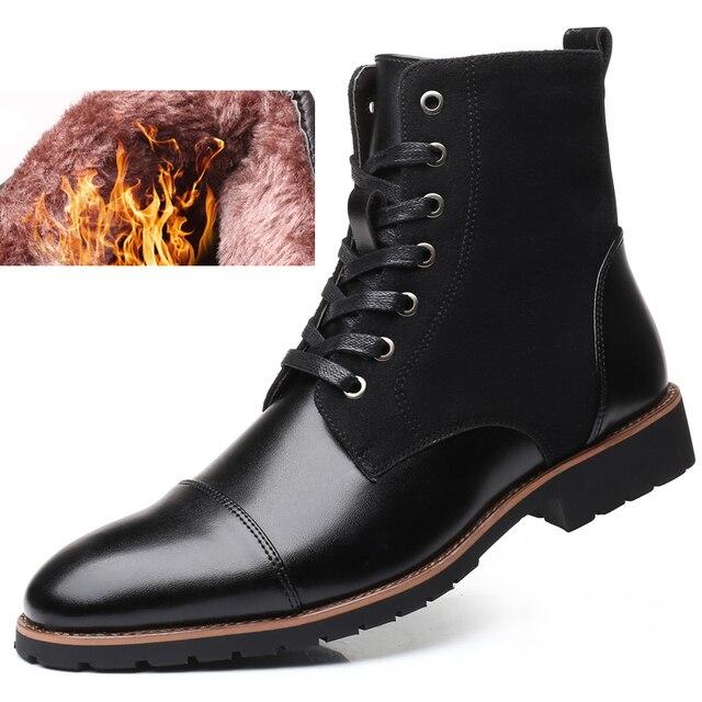 78b74325244 2019 caliente de invierno de la moda de los hombres de gran tamaño de  encaje de zapatos masculinos zapatos de cuero genuino de costura de tobillo botas  de ...