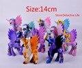 2016 Nuevos juguetes 14 CM mi rainbow horse decoración juguetes Figuras de PVC poni Niños Muñeca modelo colorido regalo de la muchacha