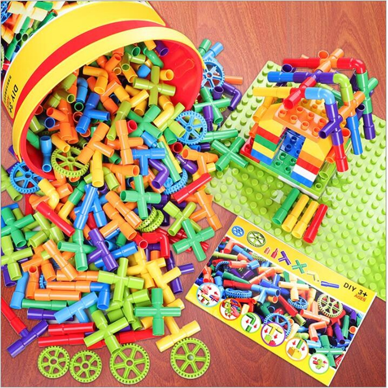 Creativity Pipe Building Blocks Assembling Toy For Children Educational Tunnel Block Model Compatible With Legoes Duploes Bricks