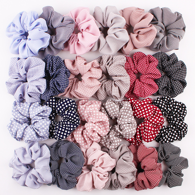 Polka Dot Stripe Lattice Cloth Scrunchie Women Girls Elastic Hair Rubber Band Accessories For Women Tie Hair Ring Rope Headdress