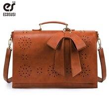 ECOSUSI 15.6'' Laptop Messenger Bag PU Leather Large Women Vintage Shoulder Briefcase Retro Handbag Ladies Crossbody Bag L Size цены