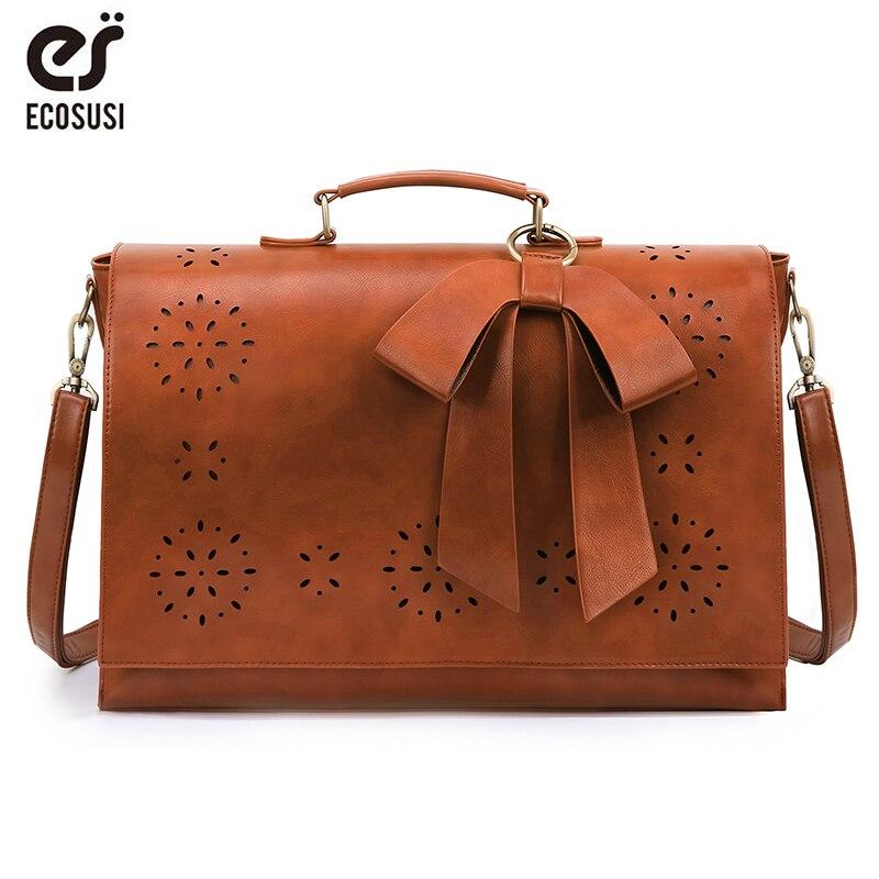 Bagaj ve Çantalar'ten Omuz Çantaları'de ECOSUSI 15.7 ''dizüstü askılı çanta kadınlar PU deri Vintage sırt çantası okul omuz çantası Retro çanta Crossbody çanta 2019'da  Grup 1