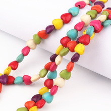 Size 8*7mm 10*9mm Colorful Love Heart Howlite Stone Beads Charms Spacer Bead Diy Bracelet Necklace For Jewelry