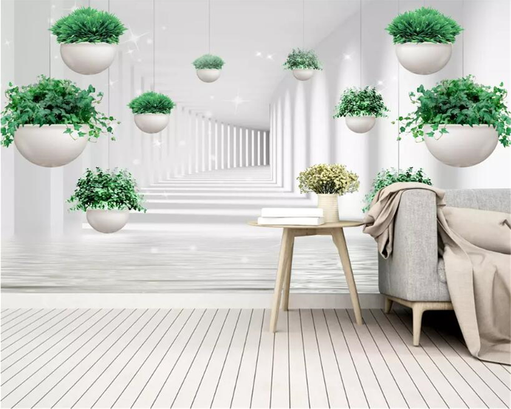 Us 8 4 44 Off Beibehang Custom Hd 3d Wallpaper Mural Small Fresh Hanging Plant Space Living Room Tv Background Wall Wallpaper For Walls 3 D In