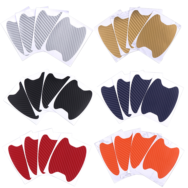 Image 2 - 4Pcs Car Auto Carbon fiber Door Film Sheet Handle Scratch Sticker aint scratch Protector Cover Exterior Accessories Car styling-in Car Stickers from Automobiles & Motorcycles