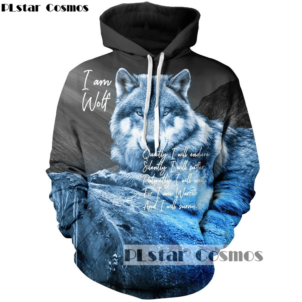 PLstar Cosmos 2018 New Fshion Autumn 3d hoodies Mens women Sweatshirts Animal wolf Print Harajuku Tracksuits Drop shipping