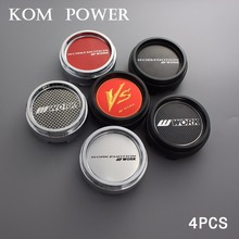KOM 4pcs 66/62mm clip work vs center cap for rims car racing trim hub enjoliveur roue logo emblem sticker modified