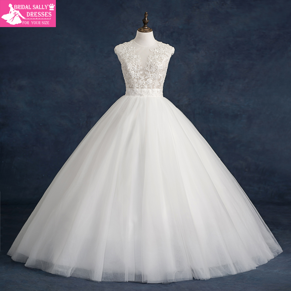 Ball gown wedding dress 2016 vintage wedding dress puffy for See through lace wedding dress