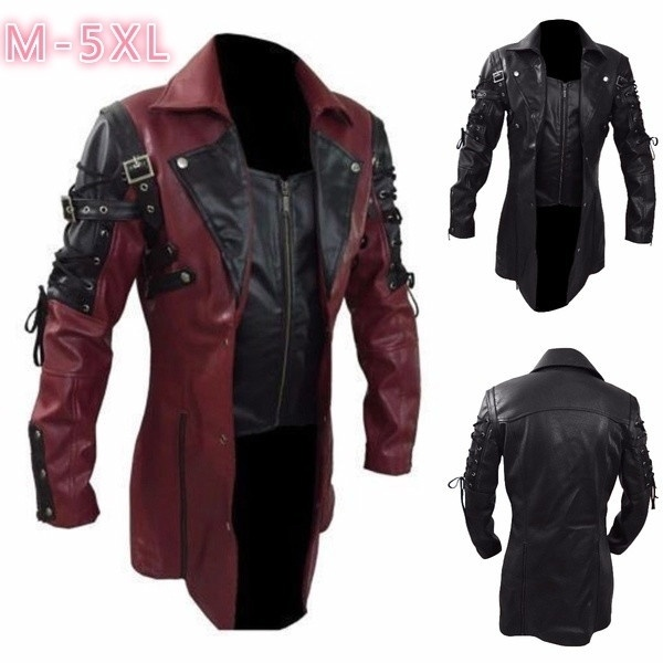 Free Shipping New Men/'s Steampunk Gothic Trench Leather Halloween Coat//Jacket