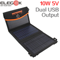 ELEGEEK New 10W 5V Monocrystalline Folding Solar Panel Charger Dual USB Output Portable Solar Charger with Storage Bag