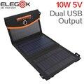 ELEGEEK Nueva 10 W 5 V Monocristalino Panel Solar Plegable Cargador de Doble Salida USB Cargador Solar Portátil con Bolsa de Almacenamiento