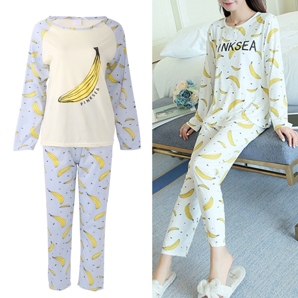 Womens Sleepwear Round Neck Banana Printed Girls   Pajamas     Set   Long Sleeve Autumn