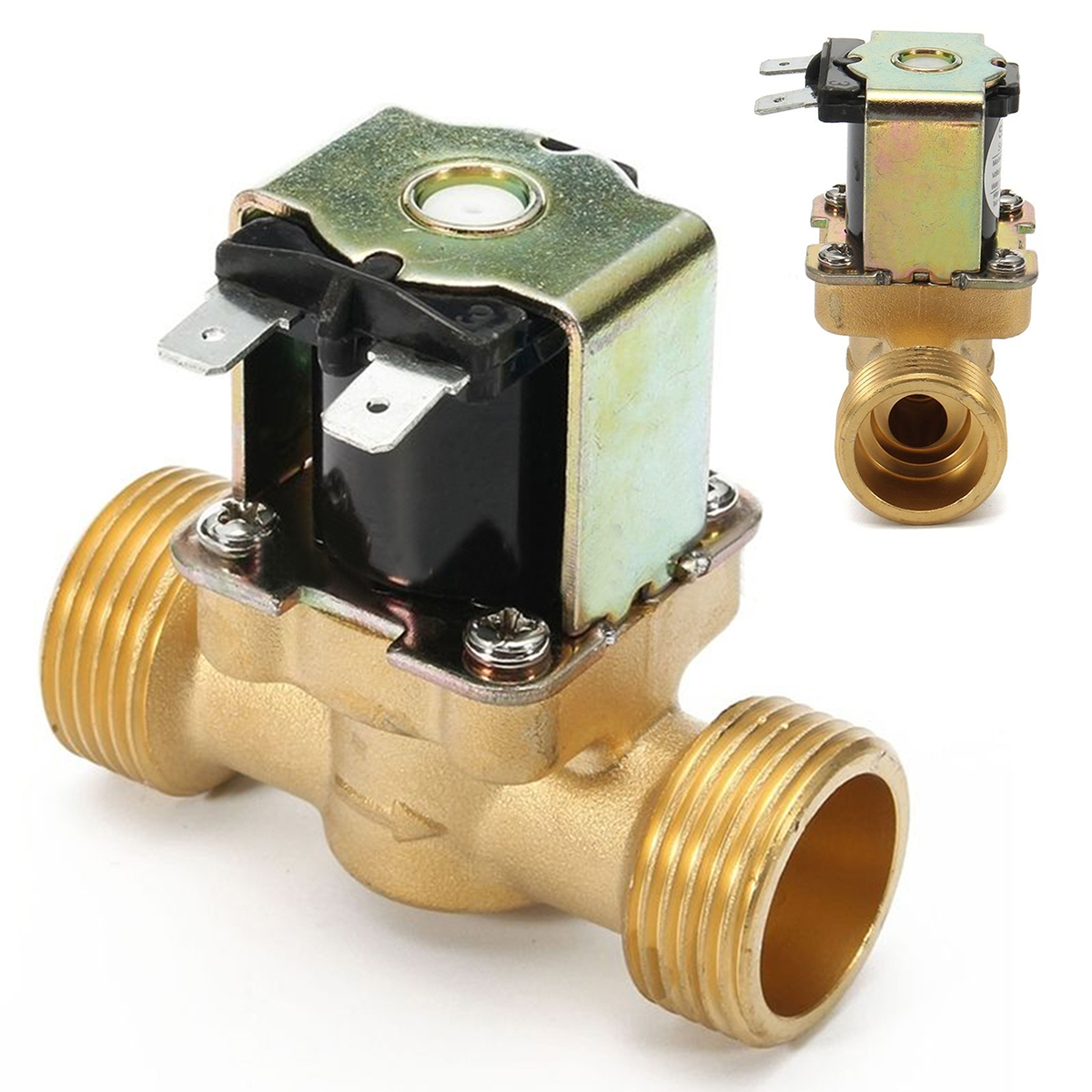 New 3/4 INCH NPSM 12V DC Slim Brass Electric Solenoid Valve Gas Water Air Normally Closed 2 Way 2 Position Diaphragm ValvesNew 3/4 INCH NPSM 12V DC Slim Brass Electric Solenoid Valve Gas Water Air Normally Closed 2 Way 2 Position Diaphragm Valves