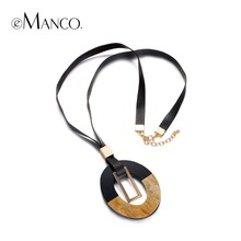 eManco 'Retro Fan' Leather Rope Pendant Necklace  for Women Geometric Resin Zinc Alloy Long Jewelry steampunk statement necklace