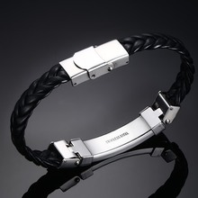 Stainless Steel Wire Black Leather Bracelet