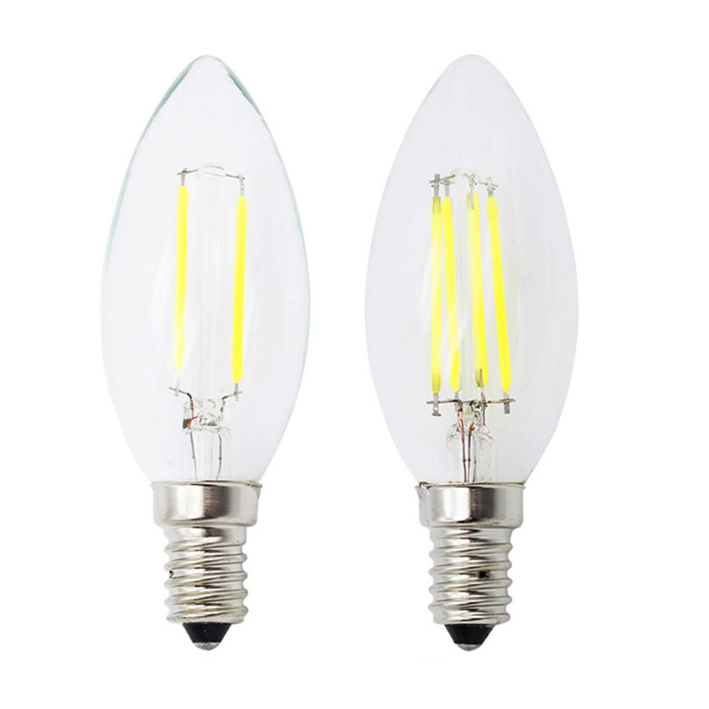 New Design LED Filament E14 Bulb 2W 4W 6W 8W AC 220V 230V Dimmable Lamp Edison Glass Candle Lights Lighting For Chandelier